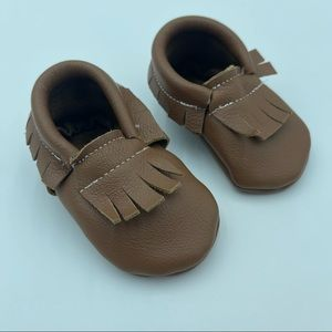 New born leather moccasins